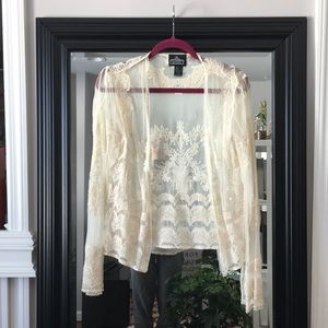 Angie Hippie Lace Embroidered Sheer Cardigan Small